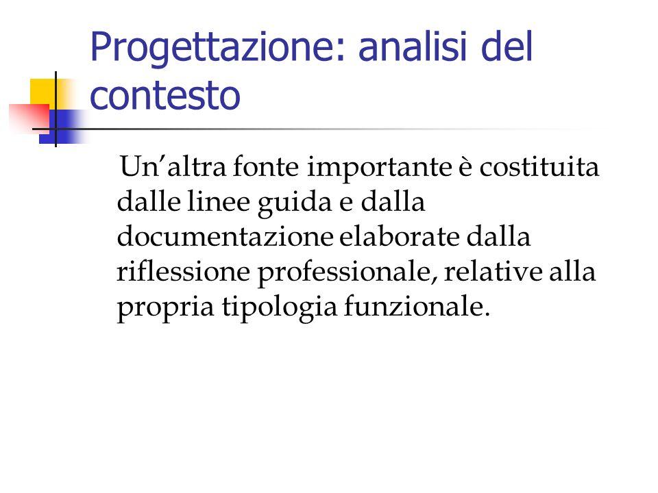 Progettazione: analisi del contesto Unaltra fonte importante è costituita dalle linee guida e dalla documentazione elaborate dalla riflessione professionale, relative alla propria tipologia funzionale.