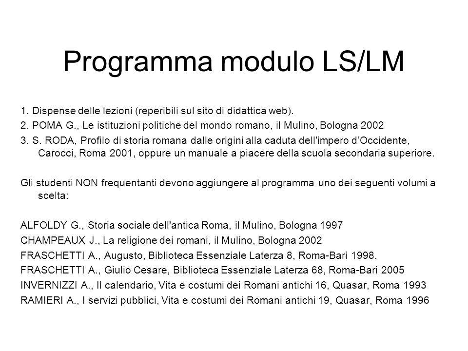 Programma modulo LS/LM 1. Dispense delle lezioni (reperibili sul sito di didattica web). 2. POMA G., Le istituzioni politiche del mondo romano, il Mul