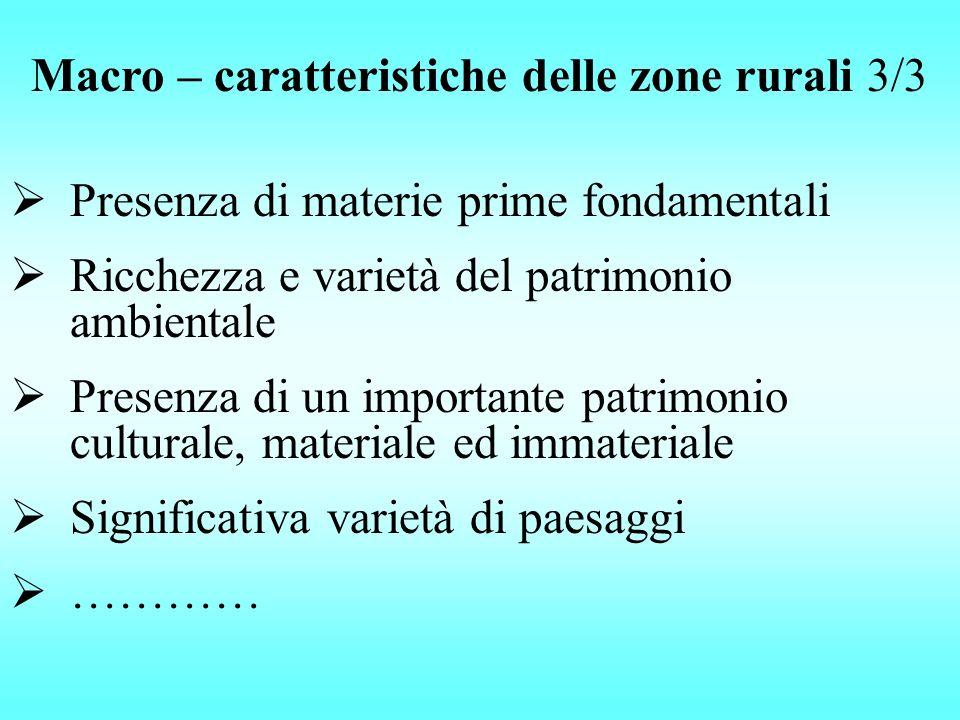 Macro – caratteristiche delle zone rurali 3/3 Presenza di materie prime fondamentali Ricchezza e varietà del patrimonio ambientale Presenza di un impo