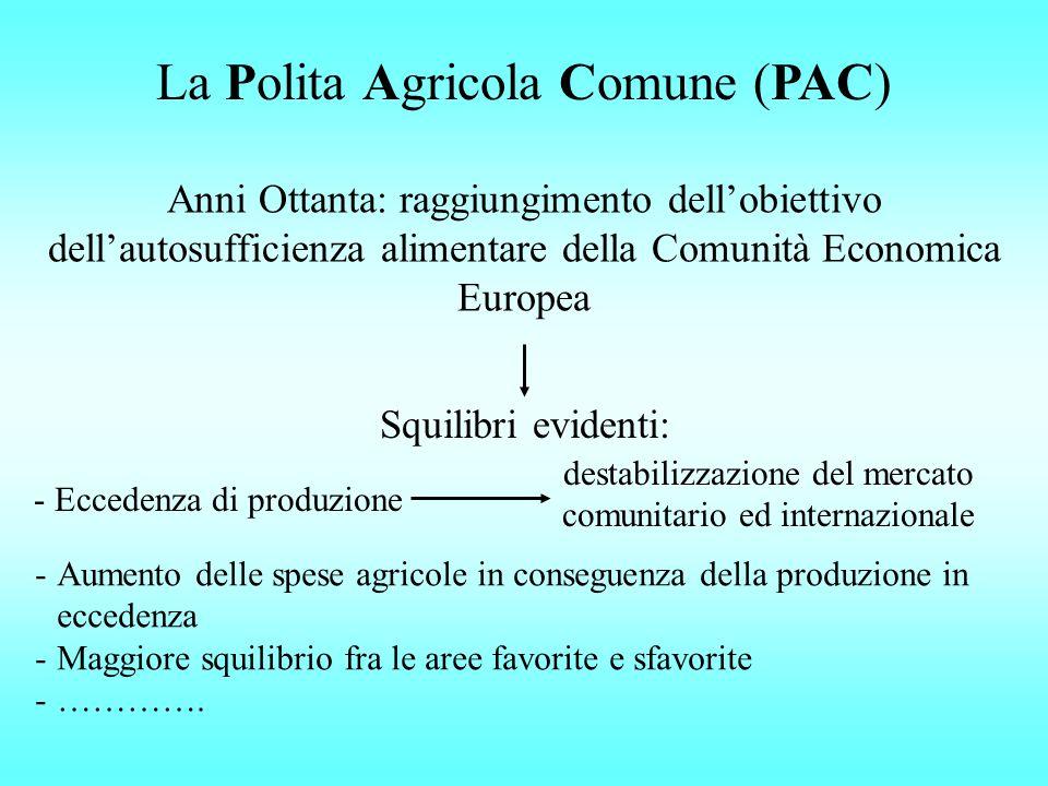 La Polita Agricola Comune (PAC) Anni Ottanta: raggiungimento dellobiettivo dellautosufficienza alimentare della Comunità Economica Europea Squilibri e