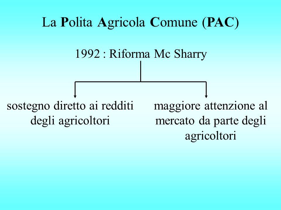 La Polita Agricola Comune (PAC) 1992 : Riforma Mc Sharry sostegno diretto ai redditi degli agricoltori maggiore attenzione al mercato da parte degli a