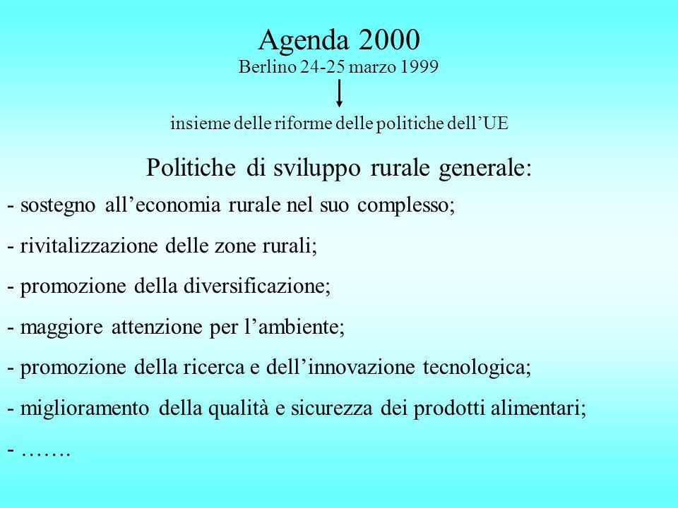 Agenda 2000 Berlino 24-25 marzo 1999 insieme delle riforme delle politiche dellUE Politiche di sviluppo rurale generale: - sostegno alleconomia rurale