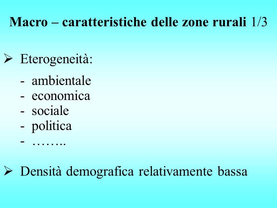Eterogeneità: Macro – caratteristiche delle zone rurali 1/3 -ambientale -economica -sociale -politica -…….. Densità demografica relativamente bassa