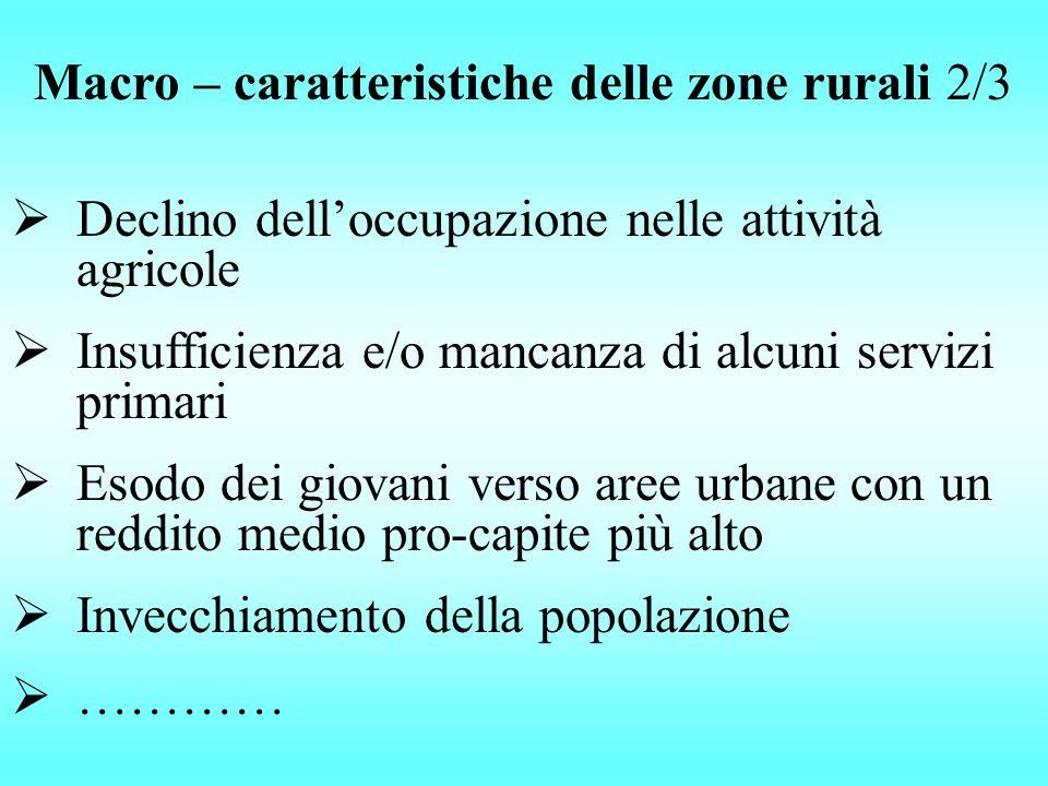 Macro – caratteristiche delle zone rurali 2/3 Declino delloccupazione nelle attività agricole Insufficienza e/o mancanza di alcuni servizi primari Eso