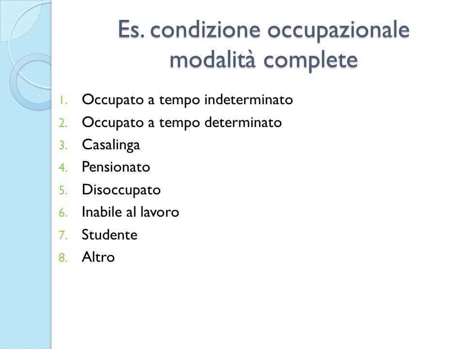 Es.condizione occupazionale modalità complete 1. Occupato a tempo indeterminato 2.