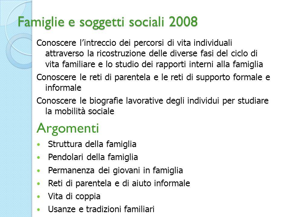 Famiglie e soggetti sociali 2008 Conoscere lintreccio dei percorsi di vita individuali attraverso la ricostruzione delle diverse fasi del ciclo di vit
