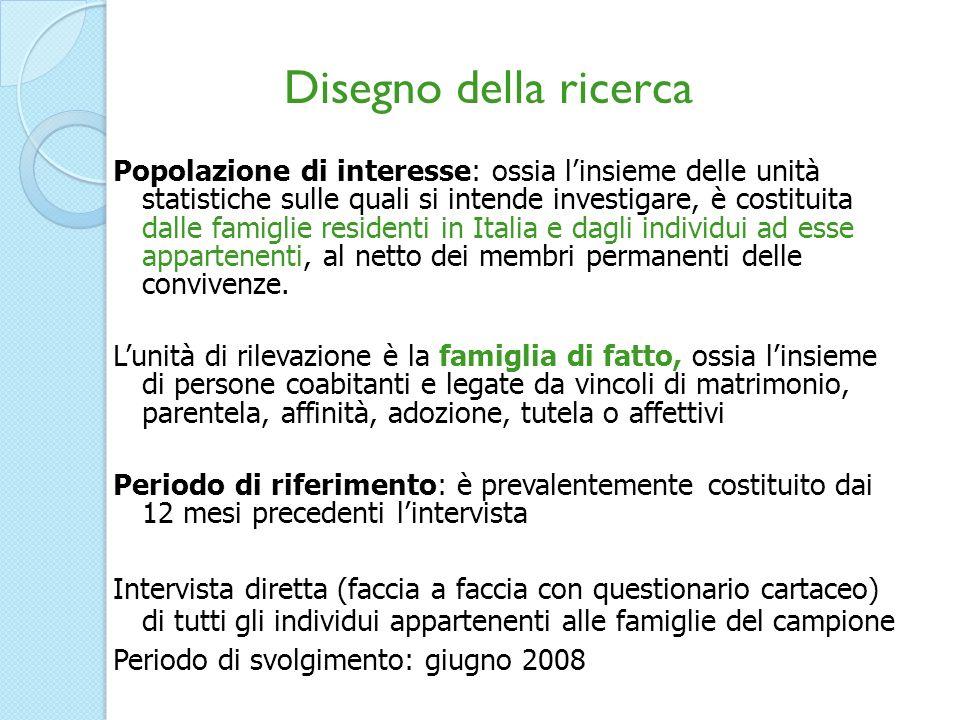 Popolazione di interesse: ossia linsieme delle unità statistiche sulle quali si intende investigare, è costituita dalle famiglie residenti in Italia e dagli individui ad esse appartenenti, al netto dei membri permanenti delle convivenze.