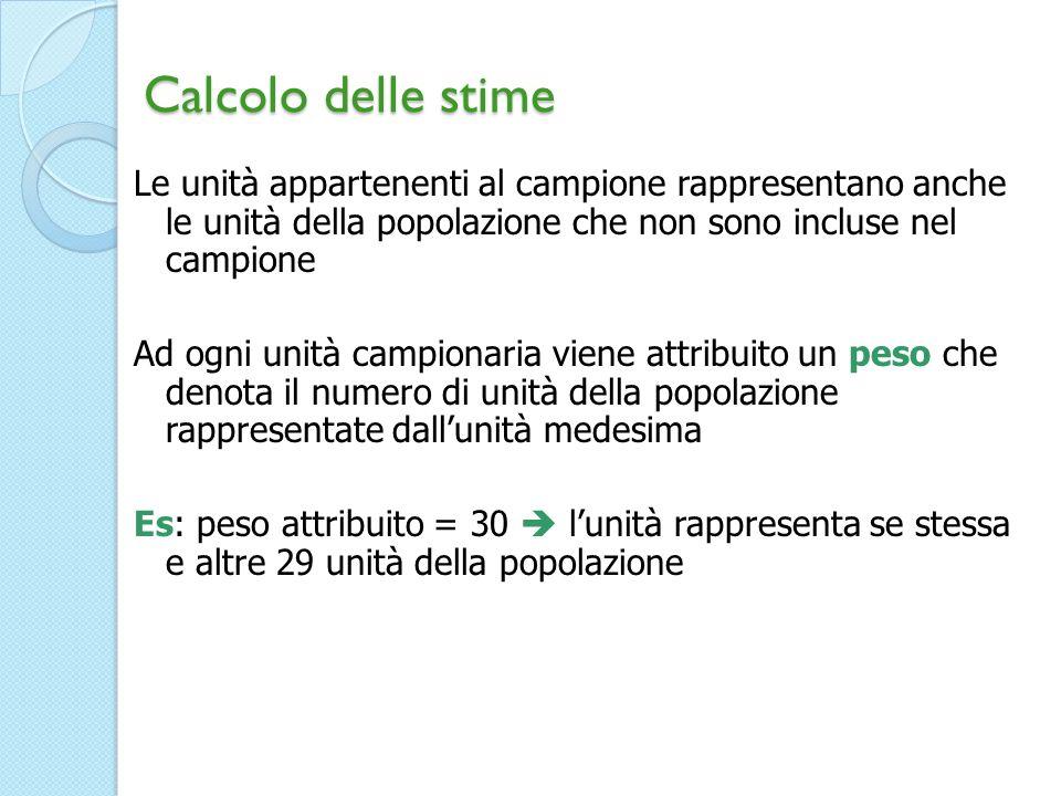 Calcolo delle stime Le unità appartenenti al campione rappresentano anche le unità della popolazione che non sono incluse nel campione Ad ogni unità c
