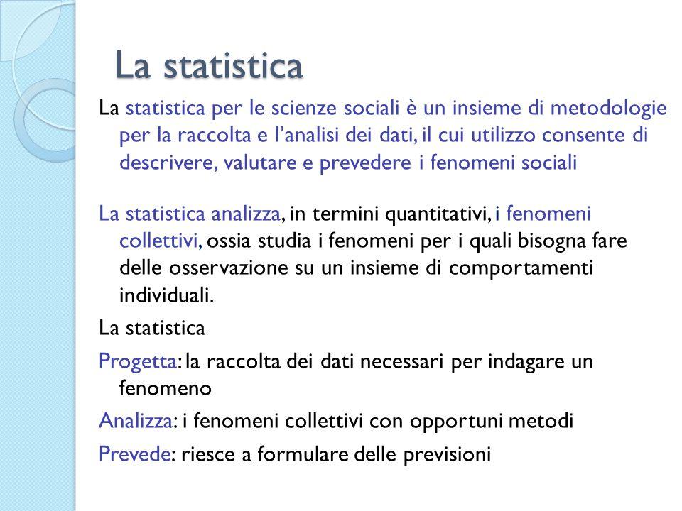 Il fenomeno sociale Siamo in presenza di un fenomeno sociale se: Coinvolge una molteplicità di soggetti Ha ripercussioni sulla collettività È di tipo statistico, cioè analizza i fatti in termini quantitativi Il fenomeno statistico è tutto ciò che può essere direttamente o indirettamente osservato e riguarda una molteplicità di unità statistiche Le caratteristiche che determinano di analizzare e descrivere un fenomeno vengono denominate caratteri o variabili statistiche