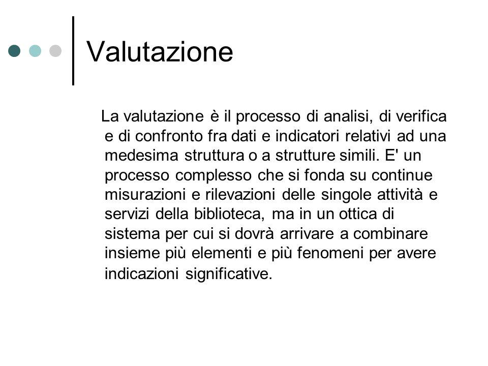 Valutazione La valutazione è il processo di analisi, di verifica e di confronto fra dati e indicatori relativi ad una medesima struttura o a strutture simili.