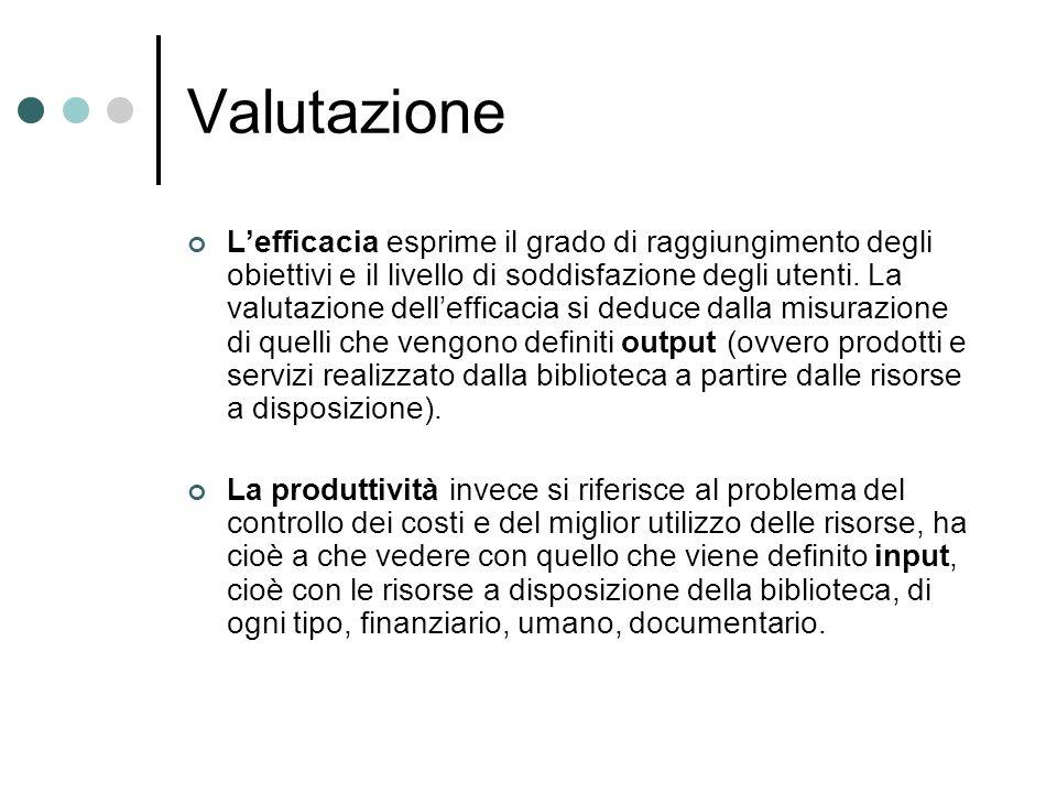 Valutazione Lefficacia esprime il grado di raggiungimento degli obiettivi e il livello di soddisfazione degli utenti.