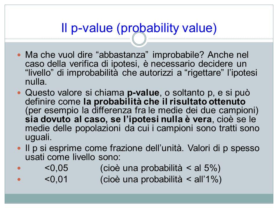 Il p-value (probability value) Ma che vuol dire abbastanza improbabile? Anche nel caso della verifica di ipotesi, è necessario decidere un livello di