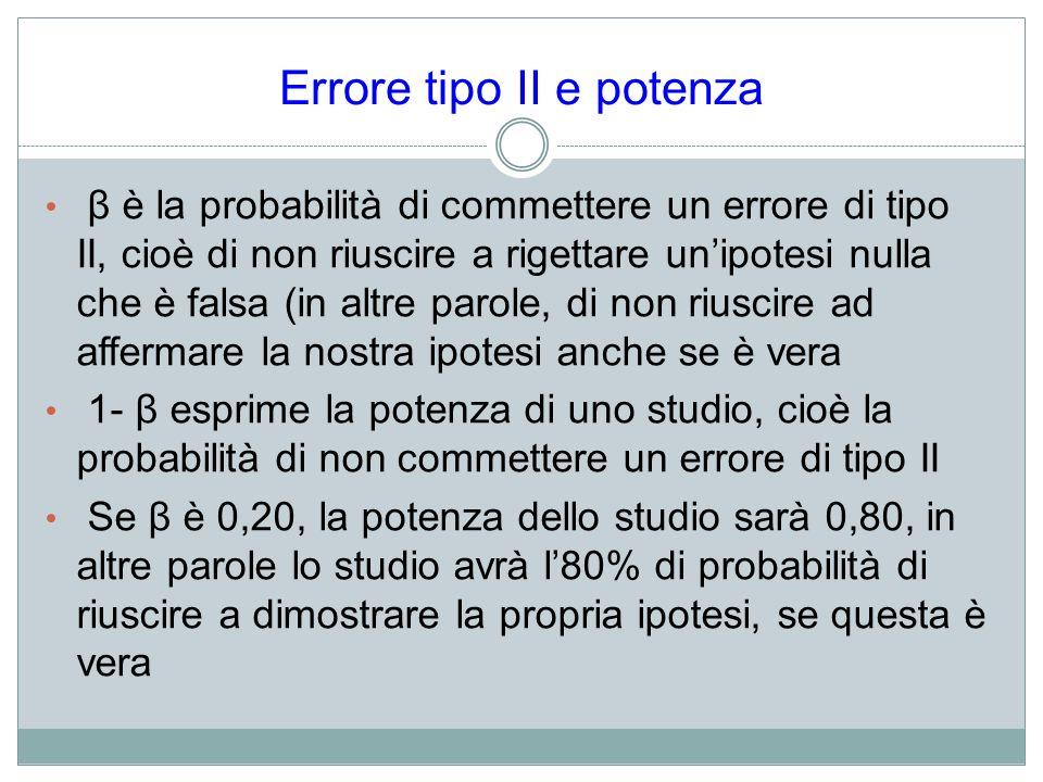 Errore tipo II e potenza β è la probabilità di commettere un errore di tipo II, cioè di non riuscire a rigettare unipotesi nulla che è falsa (in altre