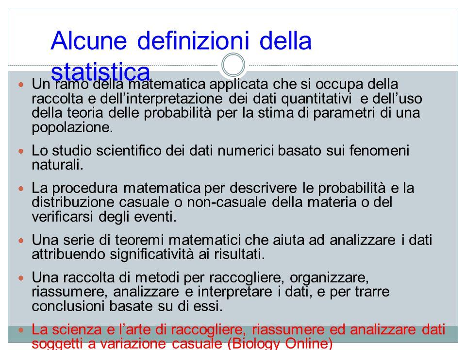 Tipi di statistica Statistica descrittiva: procedure per riassumere e presentare i dati e per descriverli attraverso strumenti matematici Statistica inferenziale: procedure per derivare dai dati già noti, con laiuto di modelli matematici, affermazioni più generali.