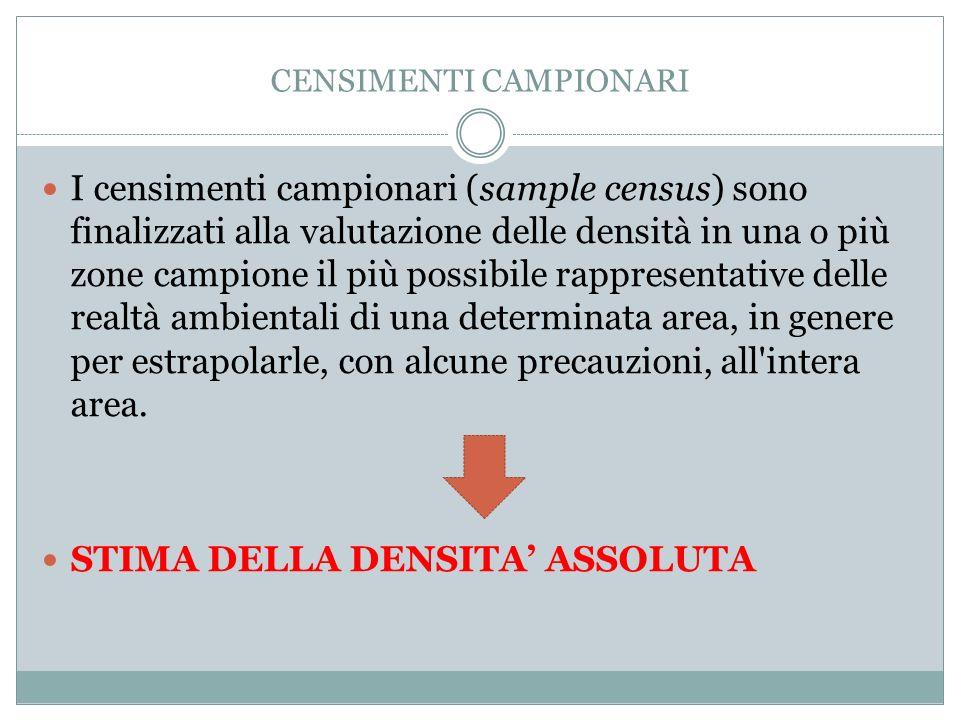CENSIMENTI CAMPIONARI I censimenti campionari (sample census) sono finalizzati alla valutazione delle densità in una o più zone campione il più possib
