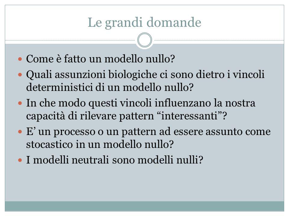 Le grandi domande Come è fatto un modello nullo? Quali assunzioni biologiche ci sono dietro i vincoli deterministici di un modello nullo? In che modo