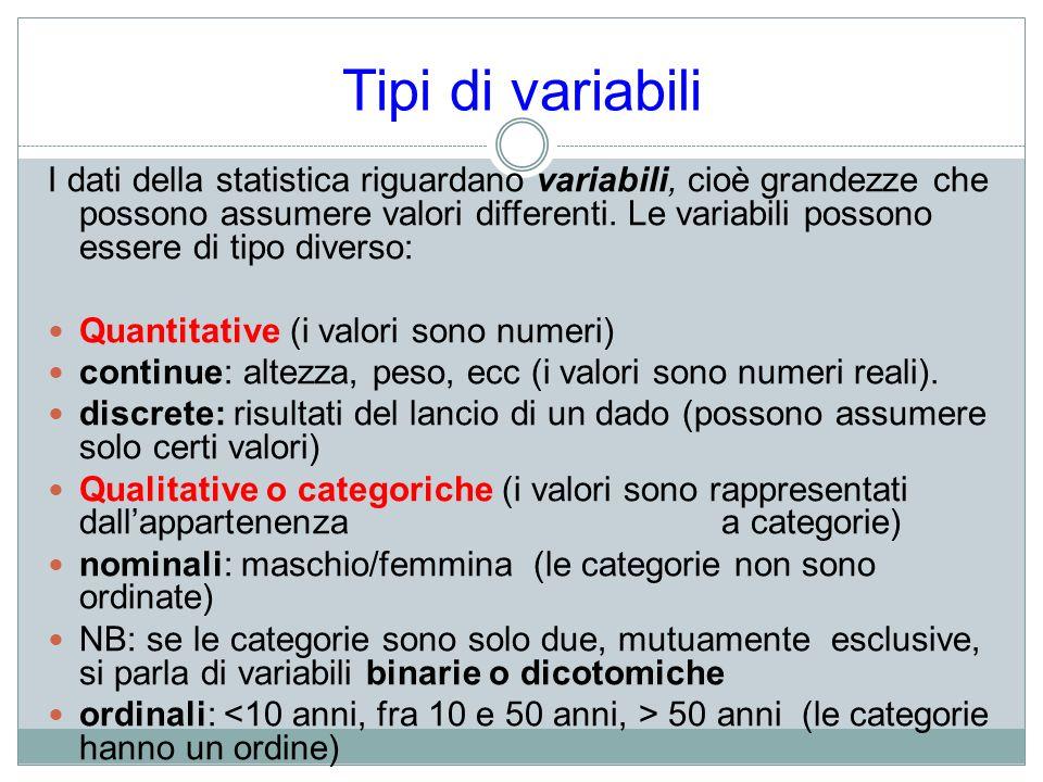 Tipi di variabili I dati della statistica riguardano variabili, cioè grandezze che possono assumere valori differenti. Le variabili possono essere di