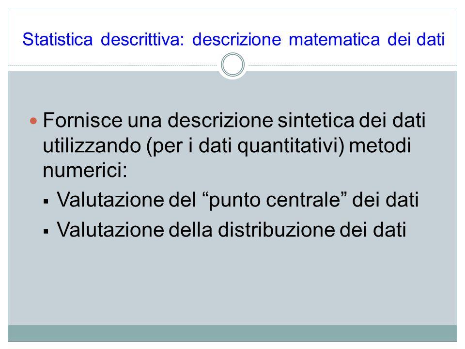 Statistica descrittiva: descrizione matematica dei dati Fornisce una descrizione sintetica dei dati utilizzando (per i dati quantitativi) metodi numer
