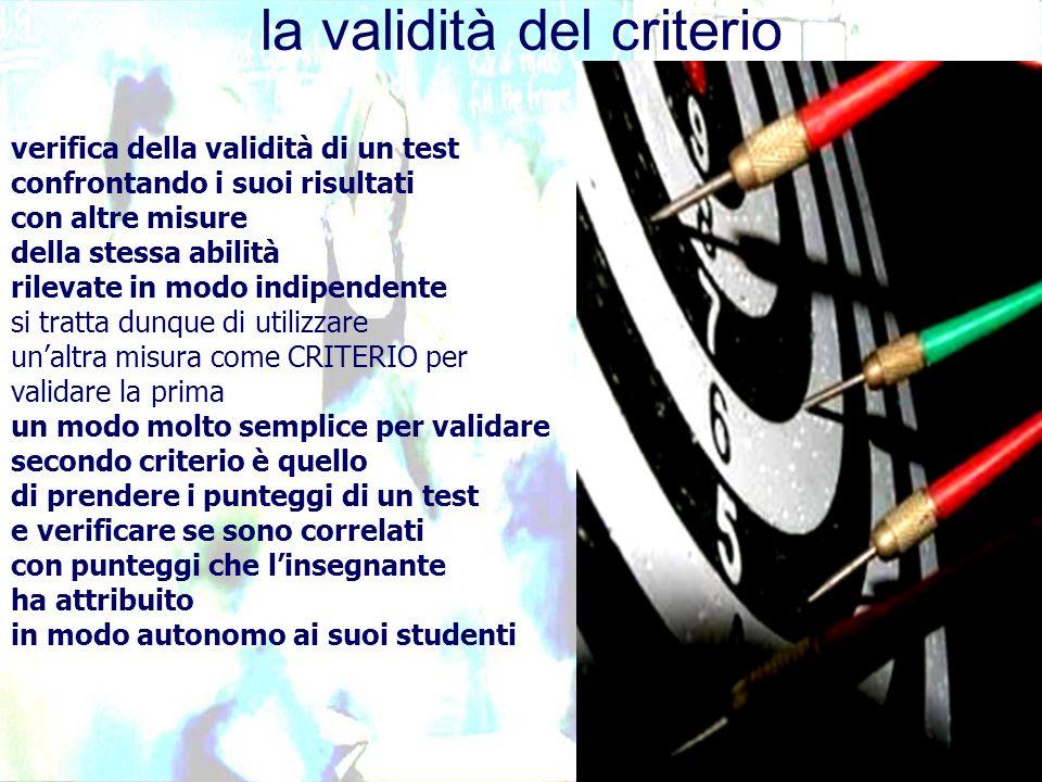 verifica della validità di un test confrontando i suoi risultati con altre misure della stessa abilità rilevate in modo indipendente si tratta dunque di utilizzare unaltra misura come CRITERIO per validare la prima un modo molto semplice per validare secondo criterio è quello di prendere i punteggi di un test e verificare se sono correlati con punteggi che linsegnante ha attribuito in modo autonomo ai suoi studenti la validità del criterio