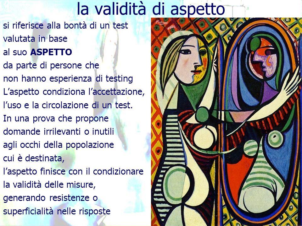 si riferisce alla bontà di un test valutata in base al suo ASPETTO da parte di persone che non hanno esperienza di testing Laspetto condiziona laccettazione, luso e la circolazione di un test.