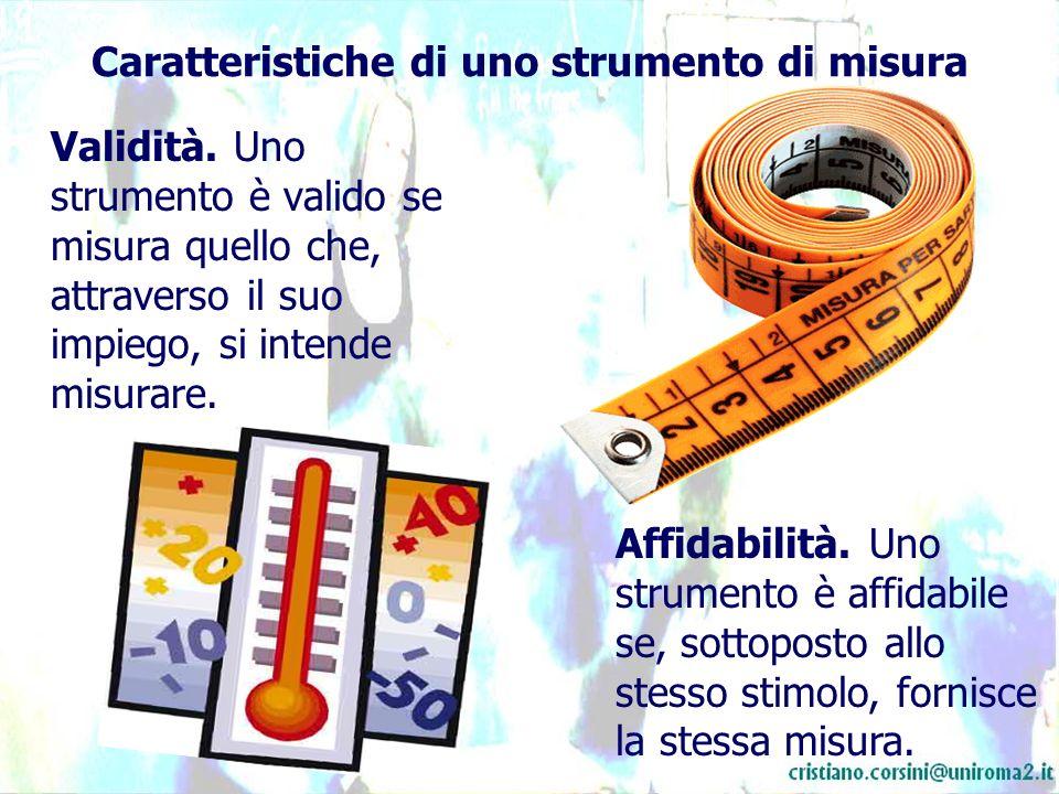 Caratteristiche di uno strumento di misura Validità. Uno strumento è valido se misura quello che, attraverso il suo impiego, si intende misurare. Affi