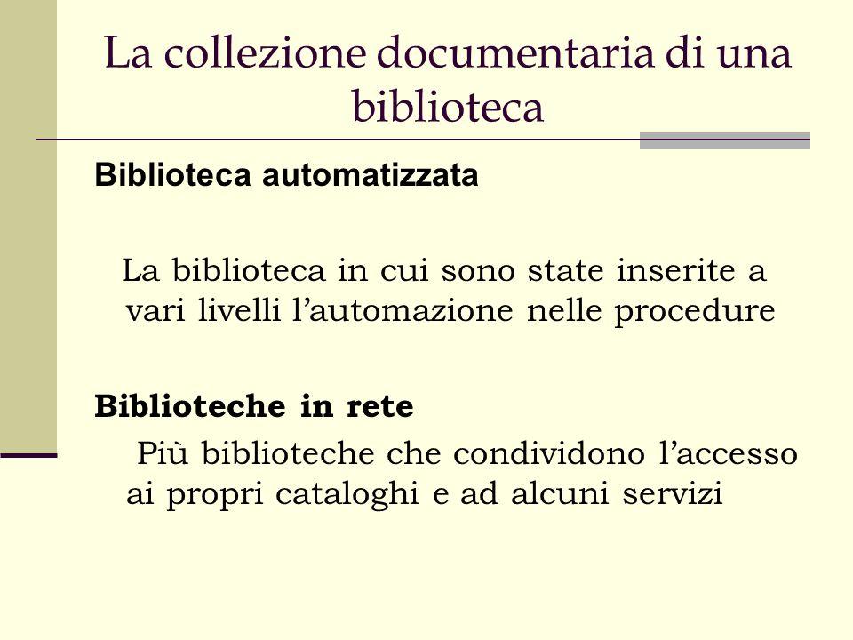 La collezione documentaria di una biblioteca Biblioteca automatizzata La biblioteca in cui sono state inserite a vari livelli lautomazione nelle procedure Biblioteche in rete Più biblioteche che condividono laccesso ai propri cataloghi e ad alcuni servizi