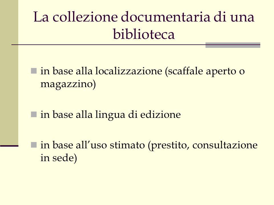 La collezione documentaria di una biblioteca in base alla localizzazione (scaffale aperto o magazzino) in base alla lingua di edizione in base alluso stimato (prestito, consultazione in sede)