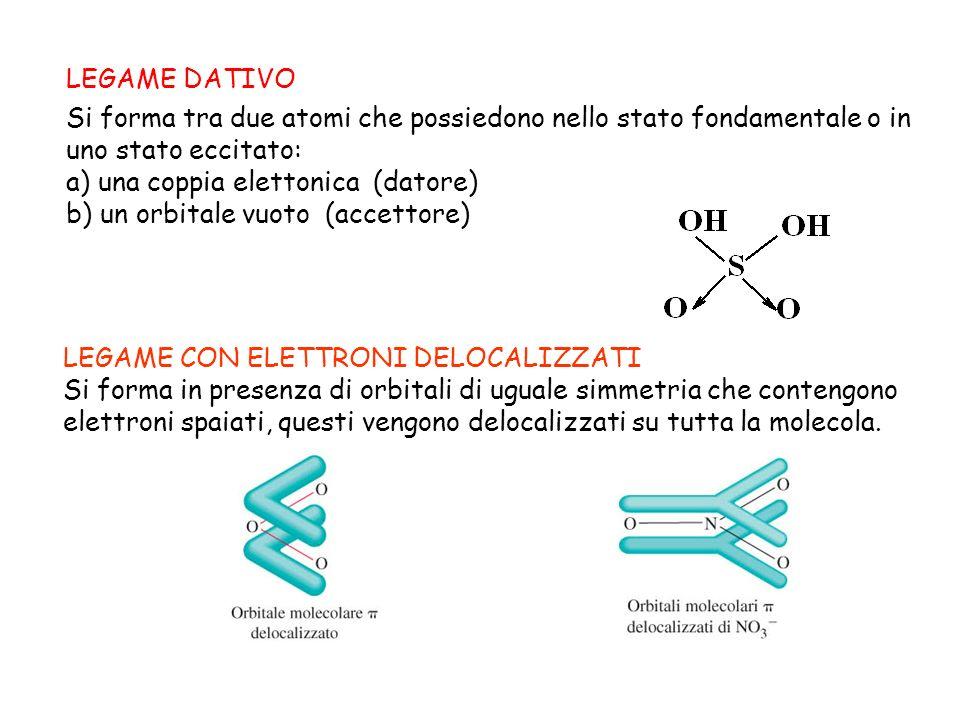 LEGAME DATIVO Si forma tra due atomi che possiedono nello stato fondamentale o in uno stato eccitato: a) una coppia elettonica (datore) b) un orbitale