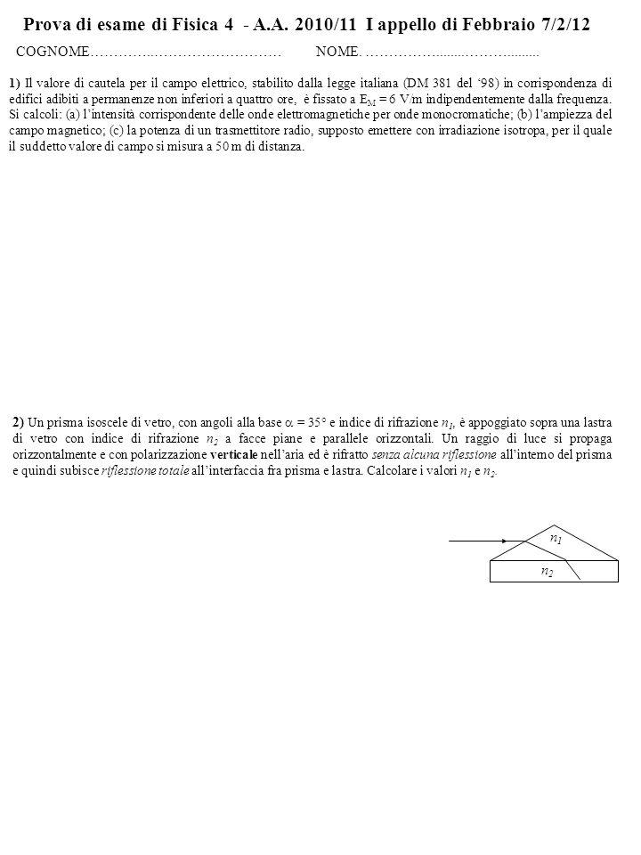 Prova di esame di Fisica 4 - A.A. 2010/11 I appello di Febbraio 7/2/12 COGNOME…………..……………………… NOME. ……………........………......... 2) Un prisma isoscele di