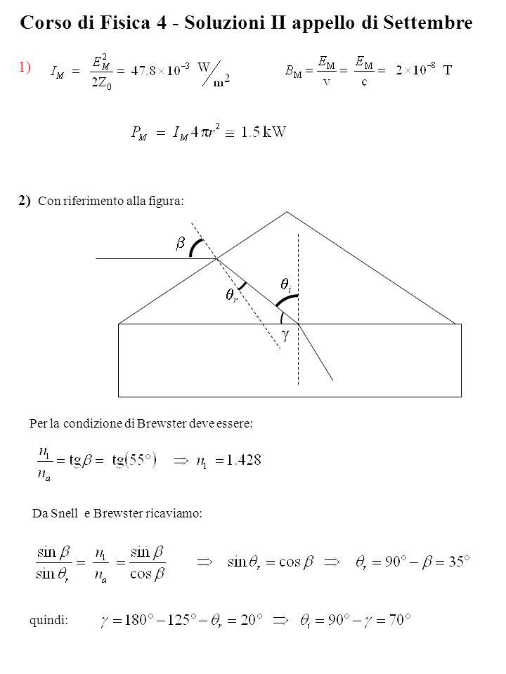 Corso di Fisica 4 - Soluzioni II appello di Settembre 1) 2) Con riferimento alla figura: r i γ Per la condizione di Brewster deve essere: Da Snell e B
