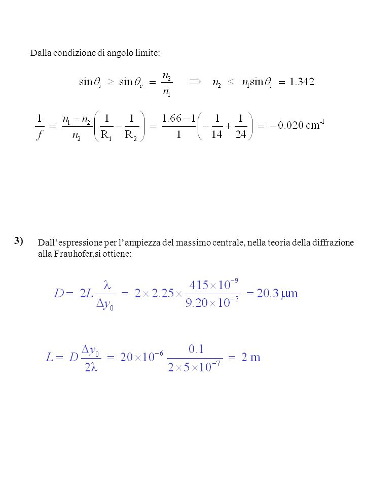 Dalla condizione di angolo limite: 3) Dallespressione per lampiezza del massimo centrale, nella teoria della diffrazione alla Frauhofer,si ottiene: