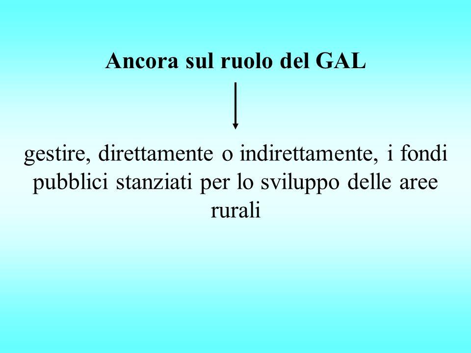Ancora sul ruolo del GAL gestire, direttamente o indirettamente, i fondi pubblici stanziati per lo sviluppo delle aree rurali