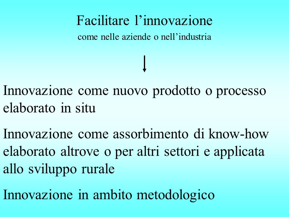 Facilitare linnovazione Innovazione come nuovo prodotto o processo elaborato in situ Innovazione come assorbimento di know-how elaborato altrove o per altri settori e applicata allo sviluppo rurale Innovazione in ambito metodologico come nelle aziende o nellindustria