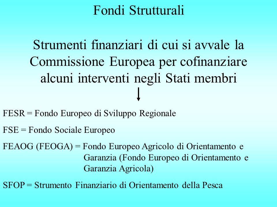 Fondi Strutturali Strumenti finanziari di cui si avvale la Commissione Europea per cofinanziare alcuni interventi negli Stati membri FESR = Fondo Europeo di Sviluppo Regionale FSE = Fondo Sociale Europeo FEAOG (FEOGA) = Fondo Europeo Agricolo di Orientamento e Garanzia (Fondo Europeo di Orientamento e Garanzia Agricola) SFOP = Strumento Finanziario di Orientamento della Pesca