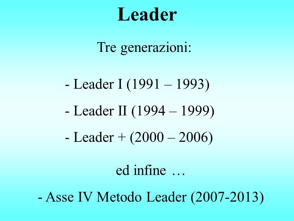 Leader - Leader I (1991 – 1993) - Leader II (1994 – 1999) - Leader + (2000 – 2006) Tre generazioni: ed infine … - Asse IV Metodo Leader (2007-2013)