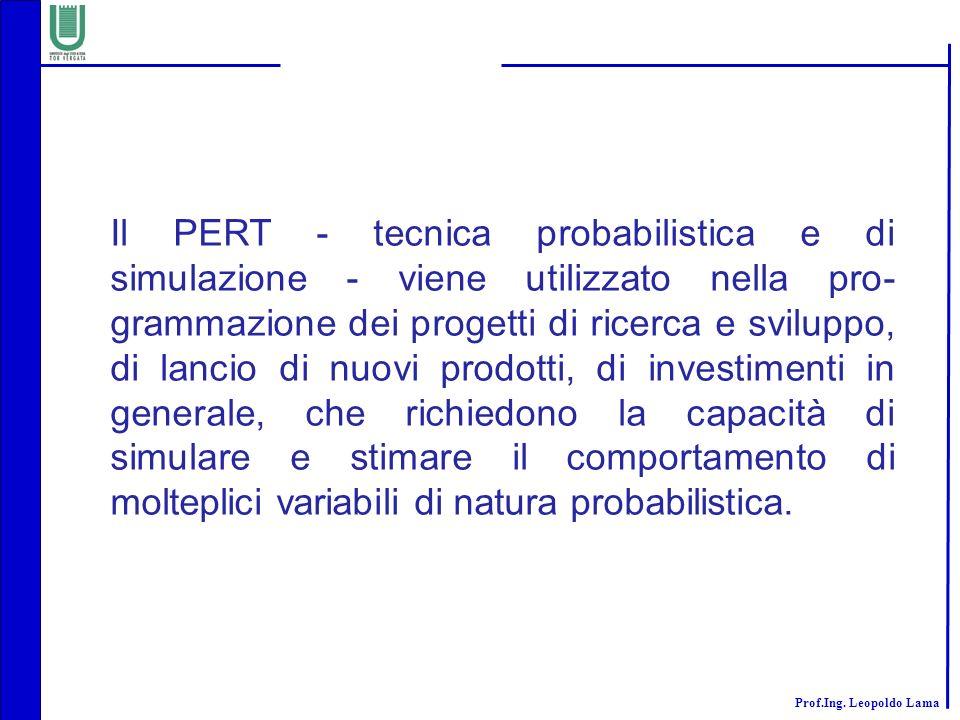Prof.Ing. Leopoldo Lama Il PERT - tecnica probabilistica e di simulazione - viene utilizzato nella pro- grammazione dei progetti di ricerca e sviluppo