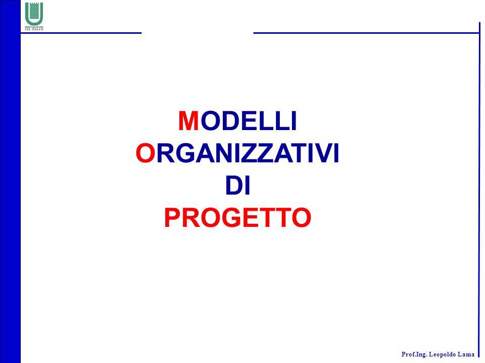 Prof.Ing. Leopoldo Lama MODELLI ORGANIZZATIVI DI PROGETTO