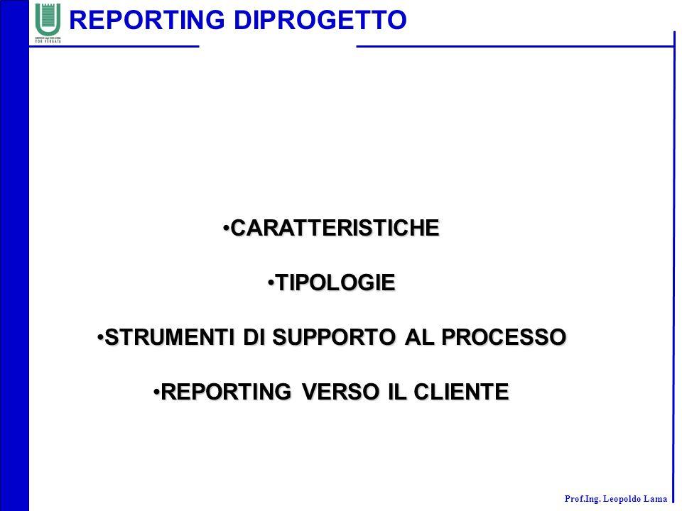 Prof.Ing. Leopoldo Lama CARATTERISTICHECARATTERISTICHE TIPOLOGIETIPOLOGIE STRUMENTI DI SUPPORTO AL PROCESSOSTRUMENTI DI SUPPORTO AL PROCESSO REPORTING