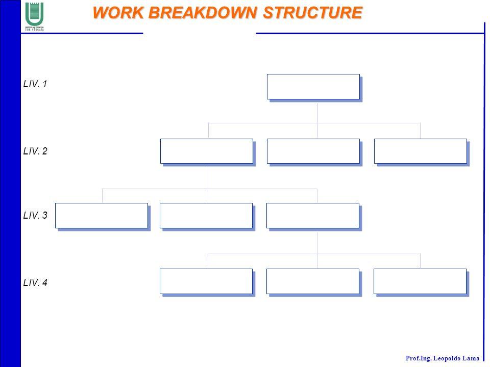 Prof.Ing. Leopoldo Lama WORK BREAKDOWN STRUCTURE LIV. 1 LIV. 2 LIV. 3 LIV. 4