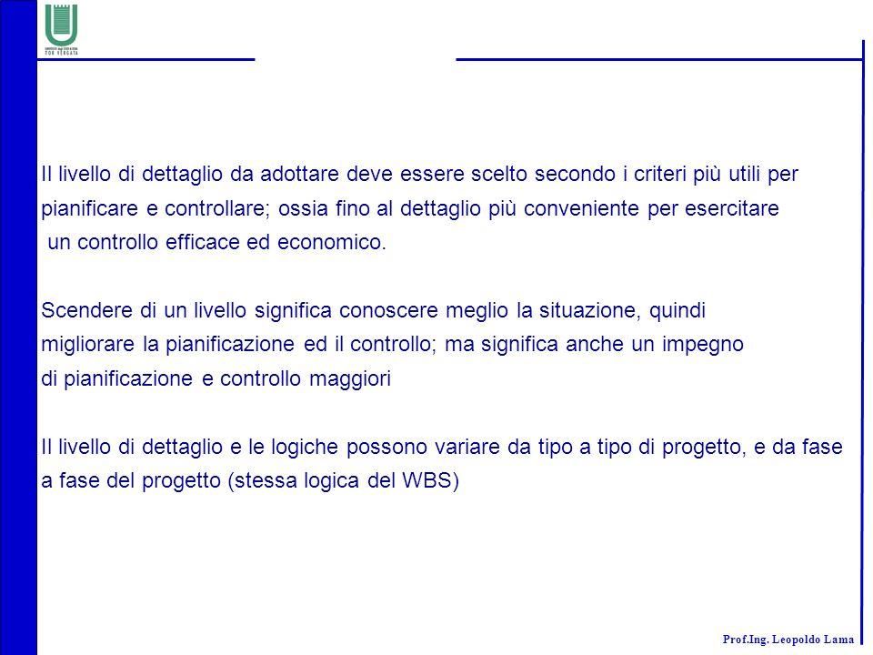 Prof.Ing. Leopoldo Lama Il livello di dettaglio da adottare deve essere scelto secondo i criteri più utili per pianificare e controllare; ossia fino a