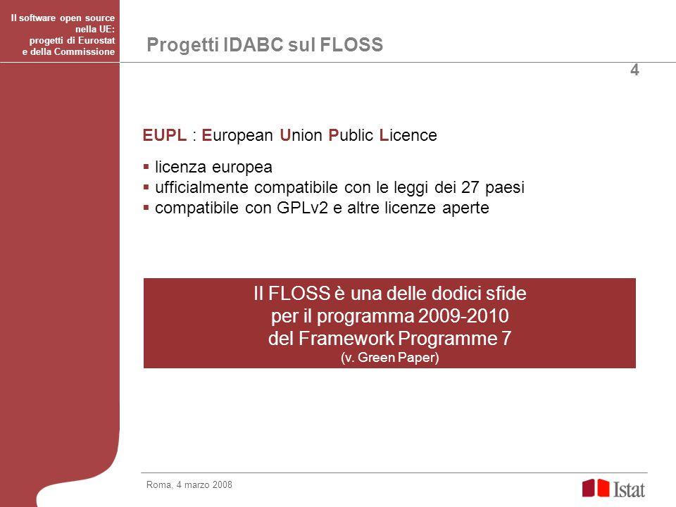 Eurostat e l open source Eurostat decisioni 2007: Rilancio e aggiornamento dell Interest Group su CIRCA OSS and Statistics e suo collegamento con OSOR di IDABC Pubblicazione di Linee guida per la pubblicazione di software OSS in modalità condivisa tra i NSI Applicazioni sviluppate da Eurostat analizzate per un rilascio con licenza EUPL Applicazione della licenza EUPL agli strumenti sviluppati da Eurostat finanziati da IDA e IDABC (es.