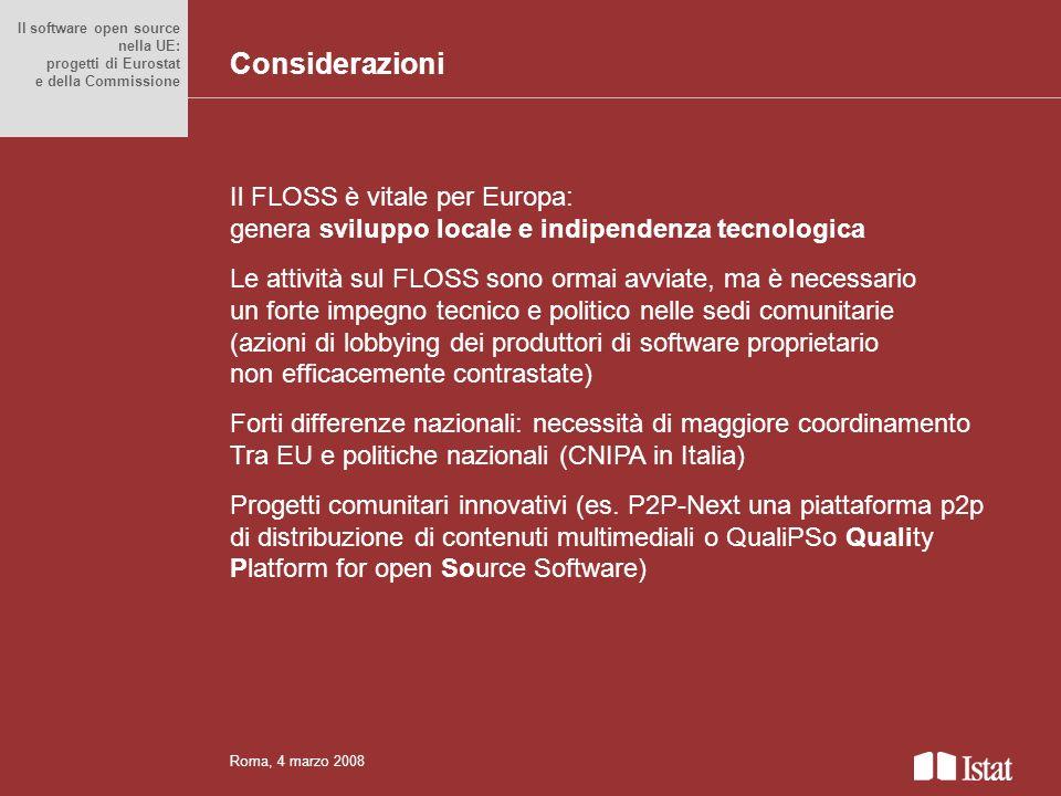 Titolo del convegno anche su più righe Il FLOSS è vitale per Europa: genera sviluppo locale e indipendenza tecnologica Le attività sul FLOSS sono orma