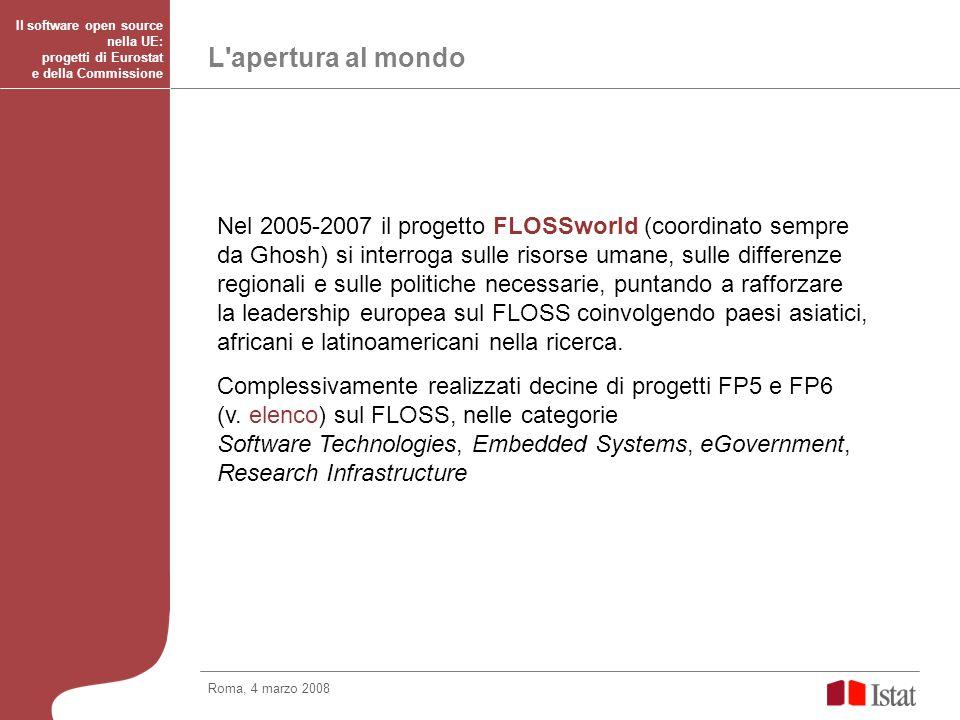 FLOSSimpact: il FLOSS in Europa Roma, 4 marzo 2008 Il software open source nella UE: progetti di Eurostat e della Commissione La situazione del FLOSS in Europa: FLOSSImpact (2007): studio rilasciato dalla Commissione sull impatto economico del FLOSS sul settore ICT in Europa.