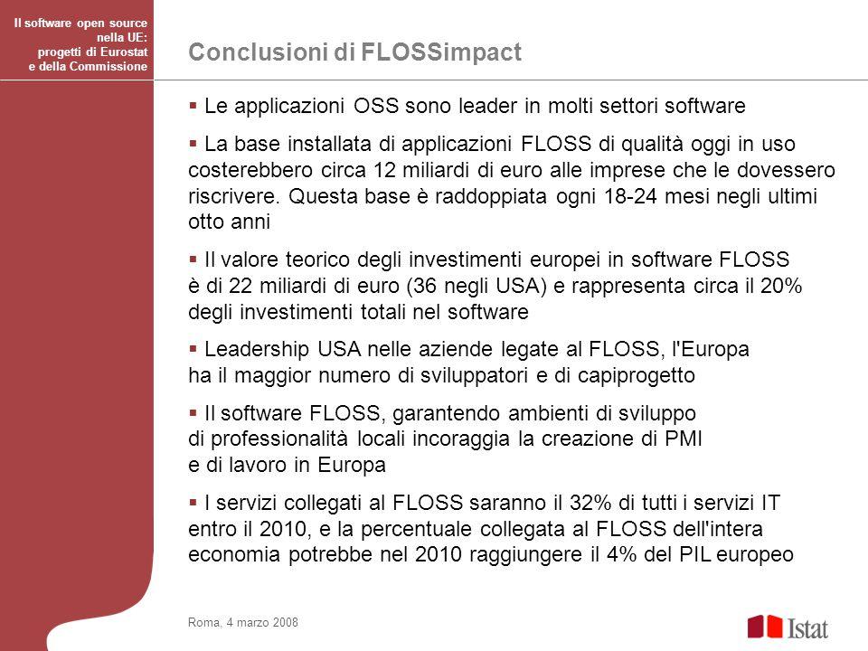 Titolo del convegno anche su più righe Le applicazioni OSS sono leader in molti settori software La base installata di applicazioni FLOSS di qualità oggi in uso costerebbero circa 12 miliardi di euro alle imprese che le dovessero riscrivere.