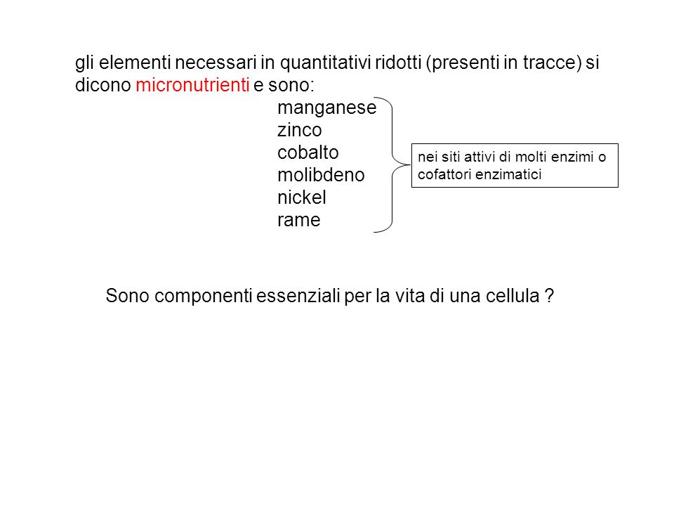 gli elementi necessari in quantitativi ridotti (presenti in tracce) si dicono micronutrienti e sono: manganese zinco cobalto molibdeno nickel rame Sono componenti essenziali per la vita di una cellula .