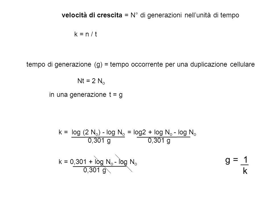 velocità di crescita = N° di generazioni nellunità di tempo tempo di generazione (g) = tempo occorrente per una duplicazione cellulare Nt = 2 N o in u