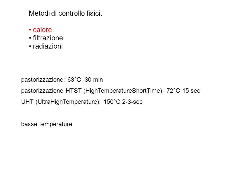 Metodi di controllo fisici: calore filtrazione radiazioni pastorizzazione: 63°C 30 min pastorizzazione HTST (HighTemperatureShortTime): 72°C 15 sec UH