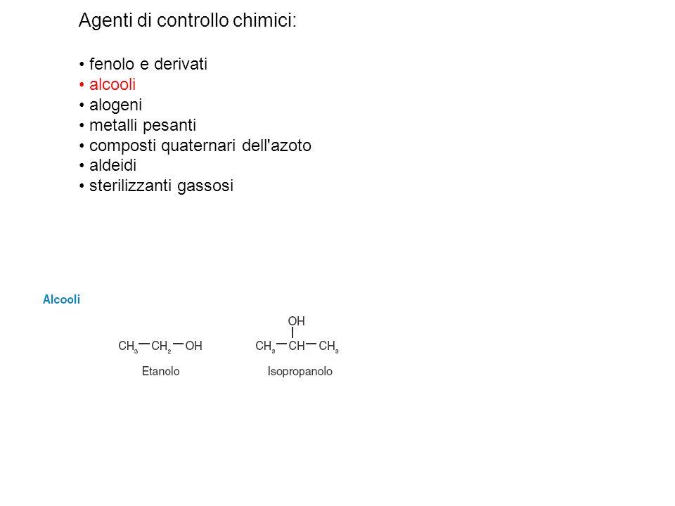 Agenti di controllo chimici: fenolo e derivati alcooli alogeni metalli pesanti composti quaternari dell'azoto aldeidi sterilizzanti gassosi
