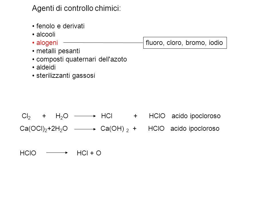 Agenti di controllo chimici: fenolo e derivati alcooli alogeni metalli pesanti composti quaternari dell'azoto aldeidi sterilizzanti gassosi fluoro, cl