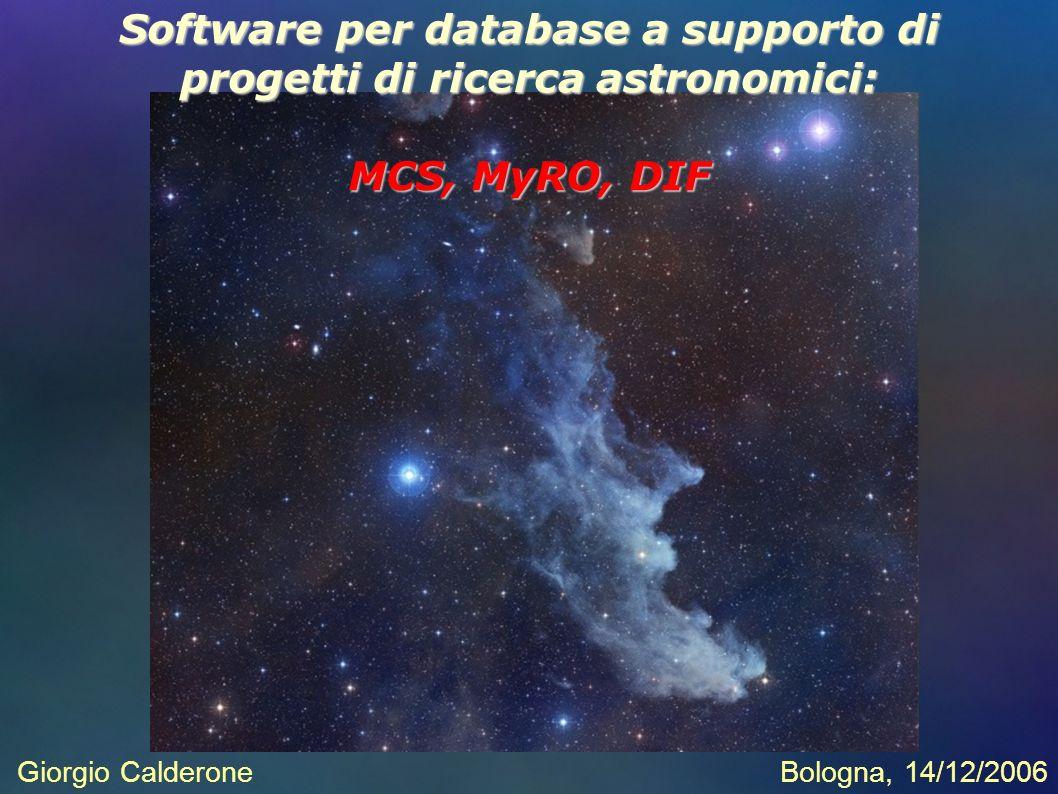 Giorgio CalderoneBologna, 14/12/2006 Software per database a supporto di progetti di ricerca astronomici: MCS, MyRO, DIF